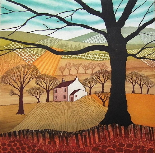 Safely Gathered In etching by Northumberland artist Rebecca Vincent fields trees cottage painting