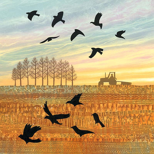 Jackdaws winter field UK landscape art greetings card Rebecca Vincent Northumberland