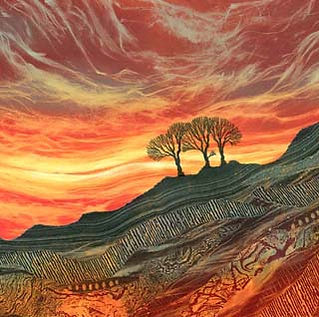Rebecca Vincent art Northumberland landscape paintings prints greetings cards sunset sky red orange