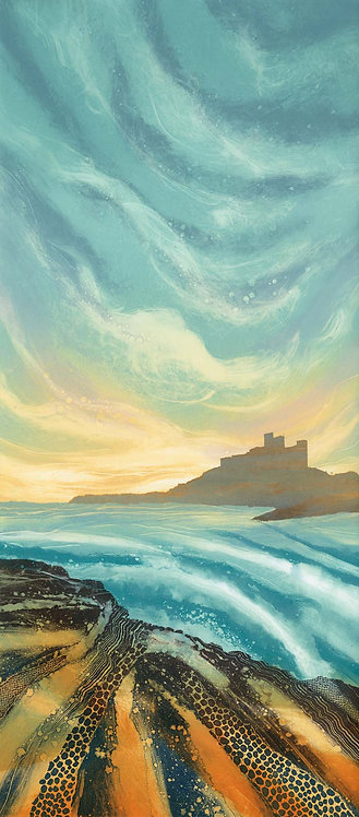 Evening Light Bamburgh Castle Northumberland coast painting print North East Rebecca Vincent art seascape