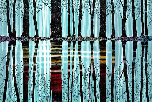 Still Waters Run Deep landscape print UK artist Rebecca Vincent reflected black trees pale blue water red