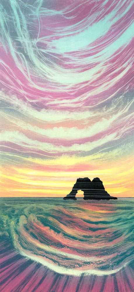 Rebecca Vincent seascape painting sea arch waves on sand monotype painting dawn sky