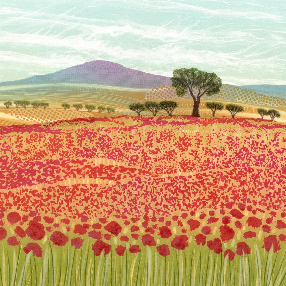 Rebecca Vincent northumberland landscape art poppy field poppies summer monotype painting