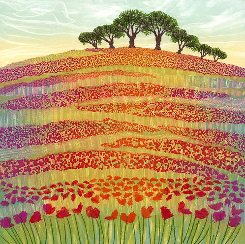 Poppy field meadow paining northumberland countryside fields poppies Rebecca Vincent red green