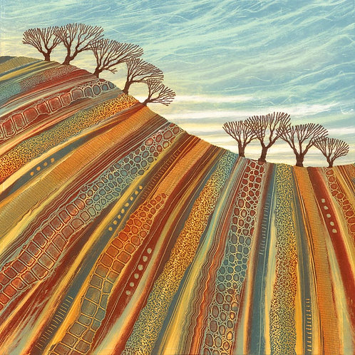On the Rise monotype painting Rebecca Vincent winter trees ploughed field hill browns blues Northumberland