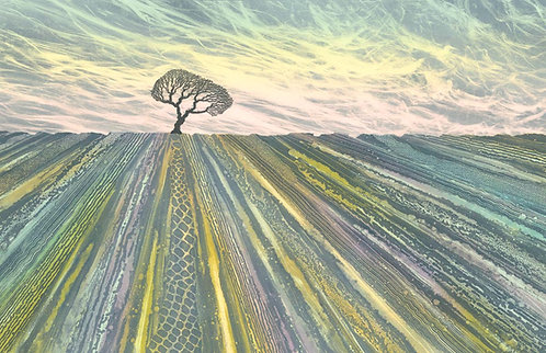 Limestone pavement painting Malham Yorkshire Dales lone tree artist Rebecca Vincent