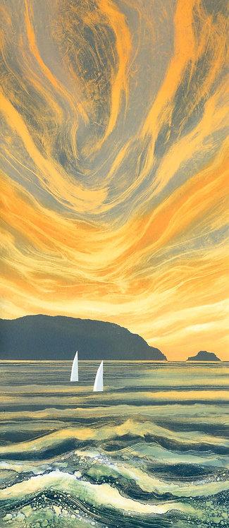 Sunset seascape by UK Northumberland artist Rebecca Vincent sea yachts calm yellow grey