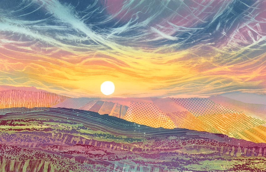 North York Moors painting by Rebecca Vincent Cleveland Way, Faceby Yorkshire sunrise