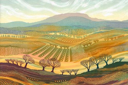 Rebecca Vincent landscape print trees hills patchwork fields green gold mauve northumberland UK