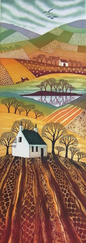 Northumberland artist Rebecca Vincent etching Country Reflections