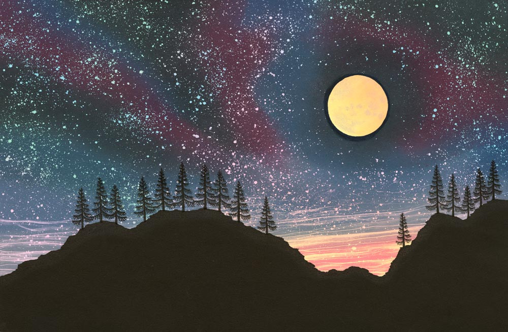 Night sky painting with stars yellow moon fir tree silhouettes by Rebecca Vincent
