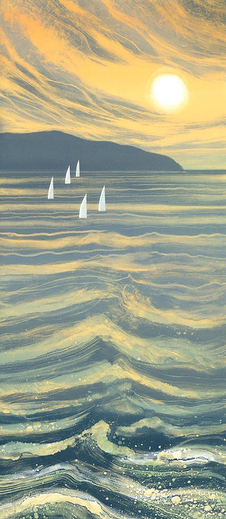 Seascape painting with yachts Rebecca Vincent UK artist sunset sea waves