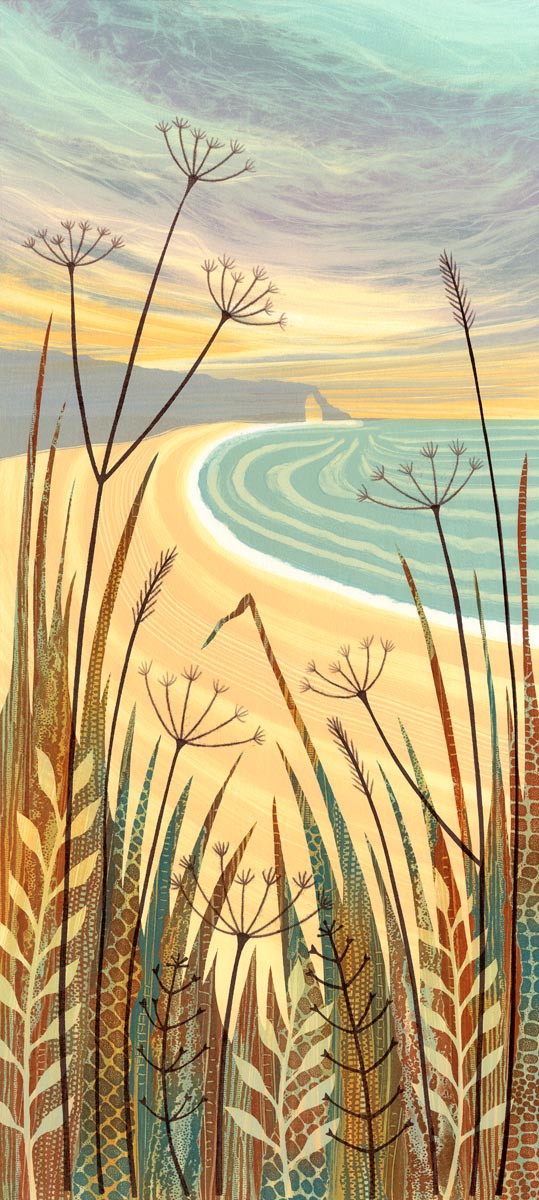 Rebecca Vincent grasses and seed heads coast sea sky sea arch
