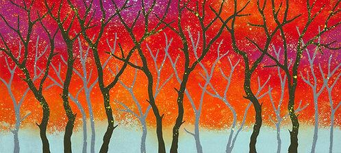 Rebecca Vincent art woodland rhythms painting autumn trees red orange UK