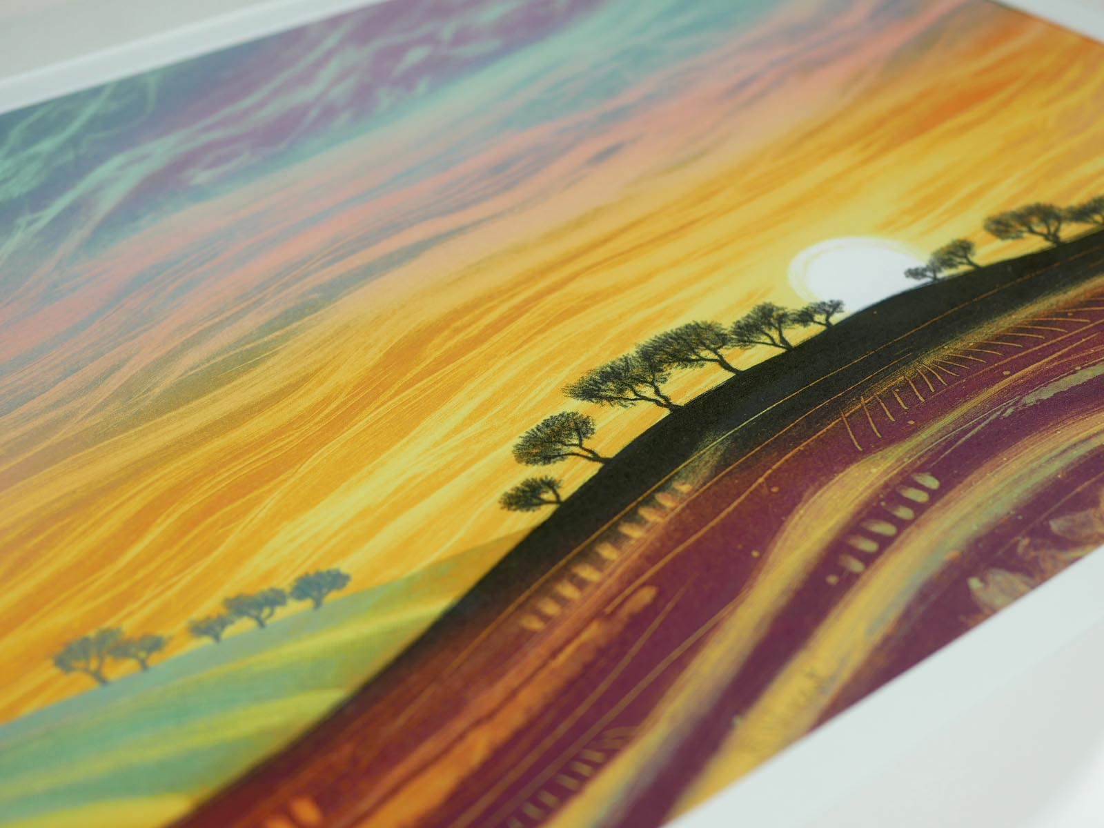Sunset on the Rolling Hills monotype