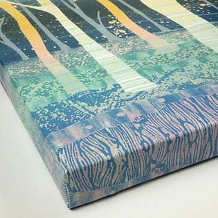 Rebecca Vincet landscape painting canvas print colourful silver birch trees moonlight blue
