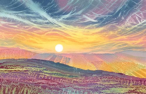Moorland last light painting Sunset Cleveland Way near Faceby North Yorkshire Moors England landscape art Rebecca Vincent