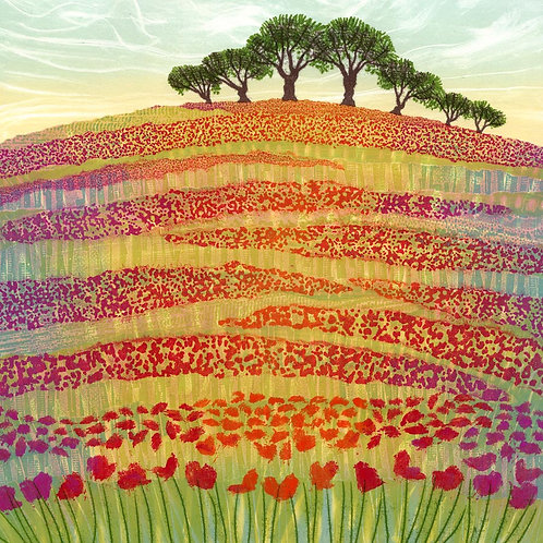 Flowers of the Field poppies painting greetings card Rebecca Vincent