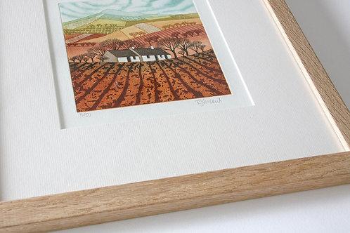 Nestled In the Landscape etching framed