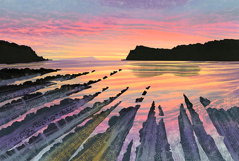 Reaching Out original painting Rebecca Vincent Portland Dorset Coast sunset sunrise seascape coast