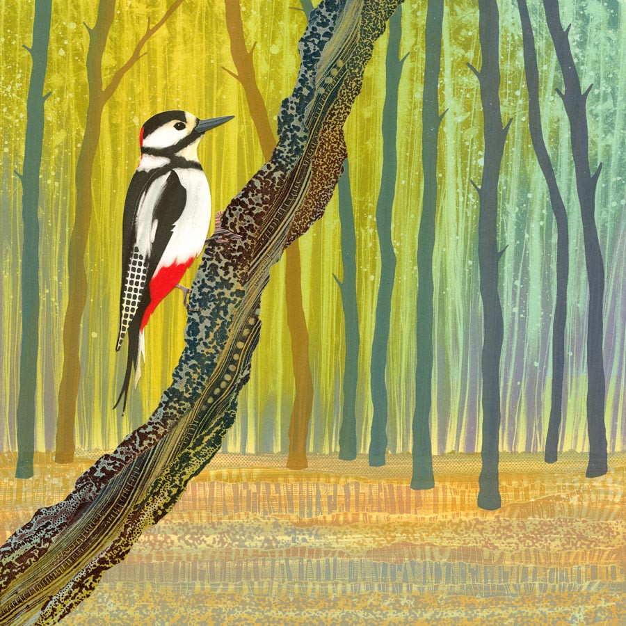 Rebecca Vincent Northumberland artist woodpecker bird painting print North East England