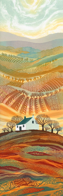 Rebecca Vincent art print Steward of the Valley Northumberland cottage fields hills trees
