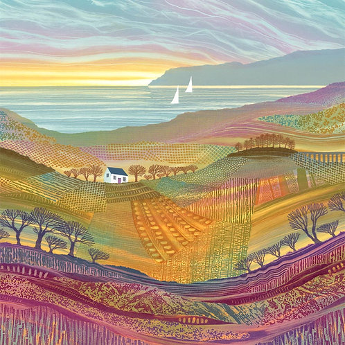 Over Hill and Dale Rebecca Vincent patchwork landscape greetings card