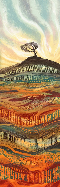 Rebecca Vincent artist print Undefeated by Time landscape with lone tree and earth patterns