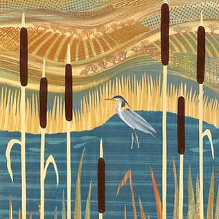 Heron bulrushes pond painting Northumberland artist Rebecca Vincent colourful landscape art