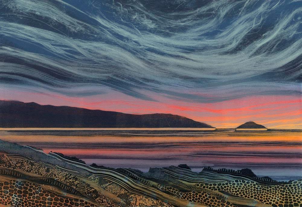 Rebecca Vincent landscape painting UK. Sunset Afterglow. Monoprint