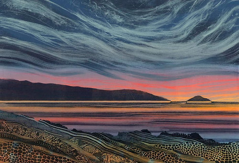 Final Colours original seascape painting by UK Northumberland artist Rebecca Vincent sunset at sea