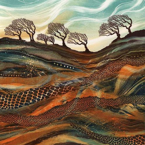 Waving in the Wind windswept trees UK landscape artist Rebecca Vincent