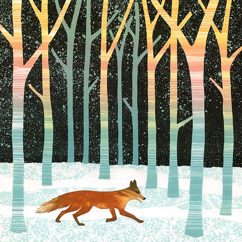 Fox night forest snow woodland winter Christmas card Rebecca Vincent Northumberland artist