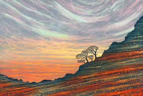 Sunrise sunset landscape art print Rebecca Vincent Northumberland artist winter trees on crags