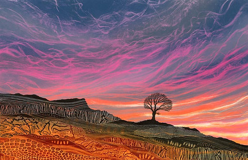 Rebecca Vincent monotype painting sunset lone tree colourful