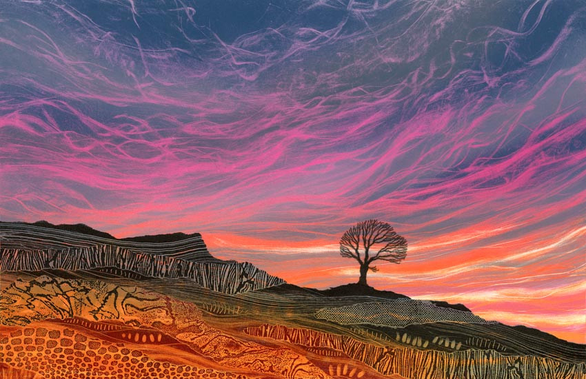 Painting Rebecca Vincent Yorkshire sunset sunrise lone tree North York moors colourful