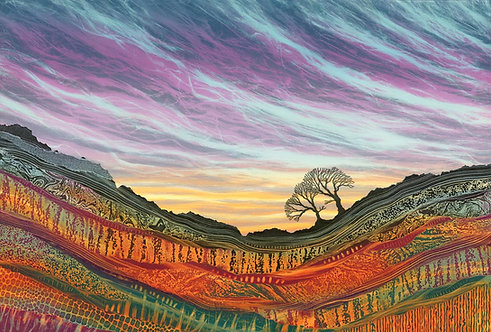 Stand By Me original monotype painting by Northumberland UK landscape artist Rebecca Vincent trees on hillside big sky
