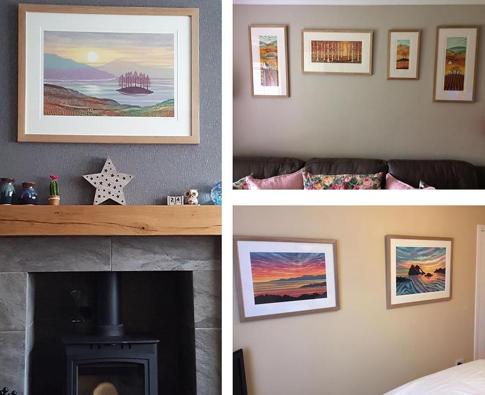 Rebecca Vincent framed prints customer photos living room