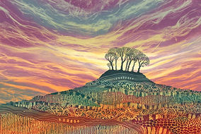 Tree Lines landscape prints by UK Northumberland landscape artist Rebecca Vincent colourful paintings