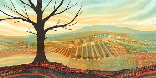 Rebecca Vincent landscape artist lone tree print still standing panorama view patchwork