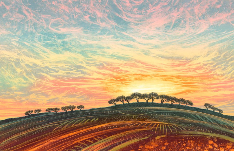 Rebecca Vincent Northumberland sunset landscape painting tree line