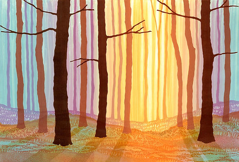 Winter glow abstract landscape woodland low light art canvas print artist Rebecca Vincent Northumberland
