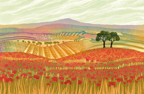 Poppy Field print by Northumberland artist Rebecca Vincent with trees fields poppies