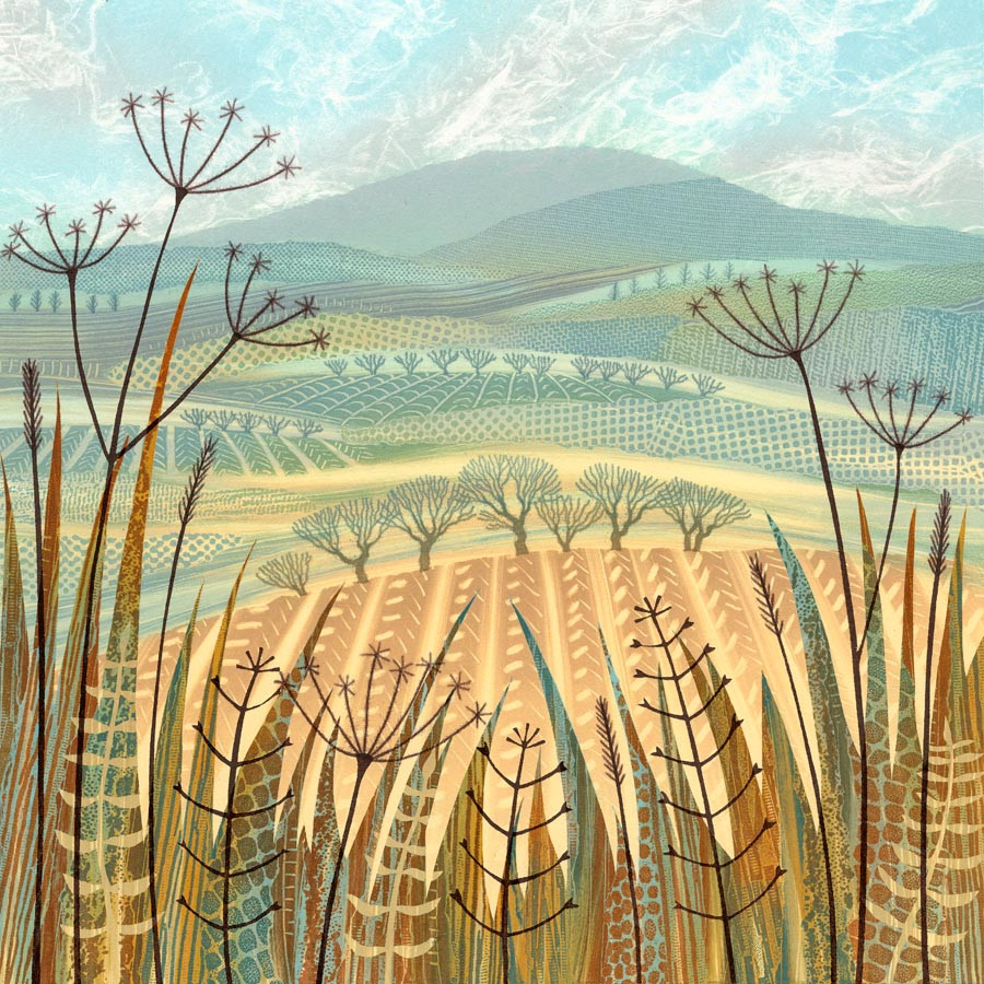 Rebecca Vincent patchwork landscape trees fields hills with textures and patterns