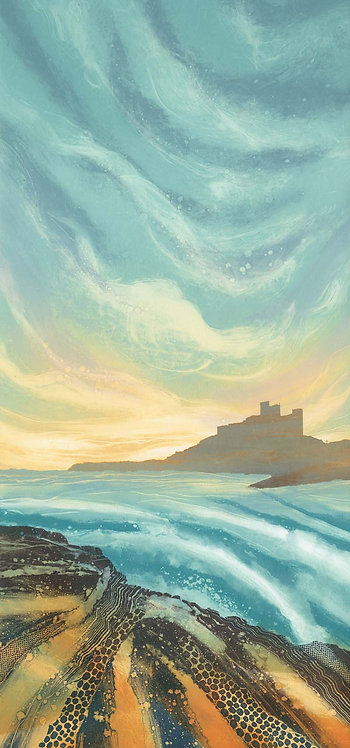 Evening Light Bamburgh greetings card RV25