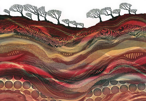 Rebecca Vincent landscape art windswept trees red black abstract patterns geology