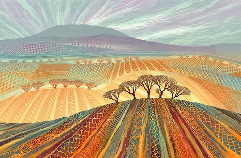 Rebecca Vincent patchwork landscape monotype painting textures colourful trees fields ploughed