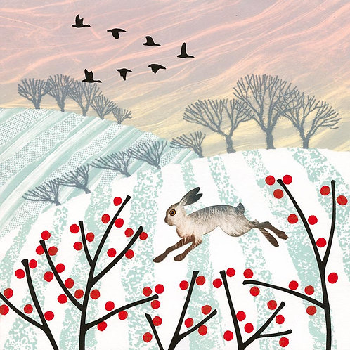 Winter Hare Christmas card snow berries fields North East artist Rebecca Vincent