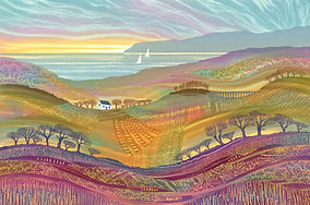 Patchwork landscape colourful painting by UK Northumberland artist Rebecca Vincent cottage trees yachts sea