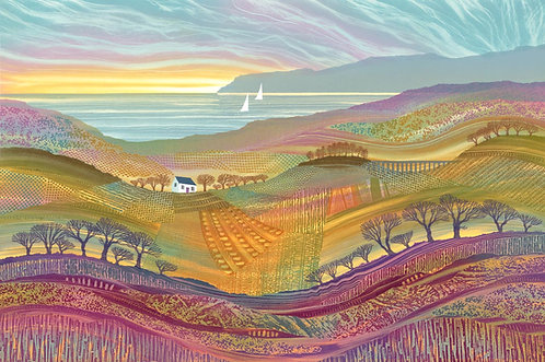 Over Hill and Dale landscape art print by Northumberland artist Rebecca Vincent patchwork fields boats cottage viaduct